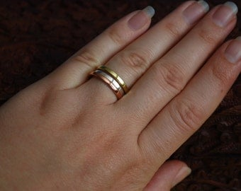 A set of 3 stacking rings - silver, brass, copper, made to order
