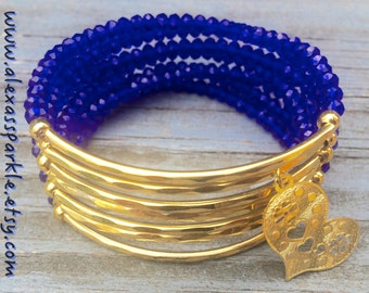 Royal Blue Beaded Bracelet Set with gold plated connectors - Pulsera Semanario color azul rey solido con conectores de chapa de oro