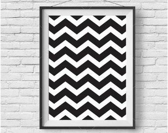 Black and White Chevron Print Chevron Art Chevron Poster Geometric Print Scandinavian Art Minimalist Print Modern Art Black Home Decor