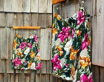 Vintage skirt wrap around   Hawaiian skirt wrap   80s beach skirt   Wrap around skirt