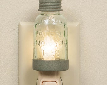 Mason Jar Night Light-Barn Roof