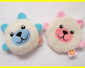 Personalized Bear Dog Toy with Squeaker or Crinkle - Pink or Blue
