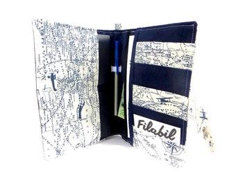Family passport holder world map blue pencil boarding pass 4 passports 5 card pockets 2 large pockets zipper rfid protection purse wallet