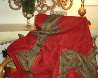Vintage Decorator Throw, Antique Gold and Red with Tassels, Old World Charm, Holiday Decor