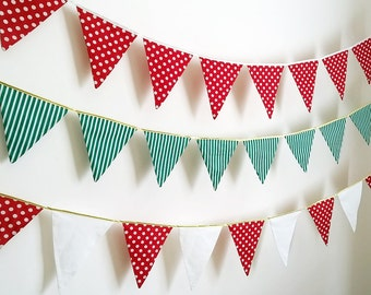 Festive Bunting in Green & White Stripes with Gold Binding