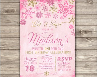 Snowflake invitations winter birthday winter wonderland snowflake birthday invitations glitter foil pink and gold party girl first birthday digital printable filmwisefo