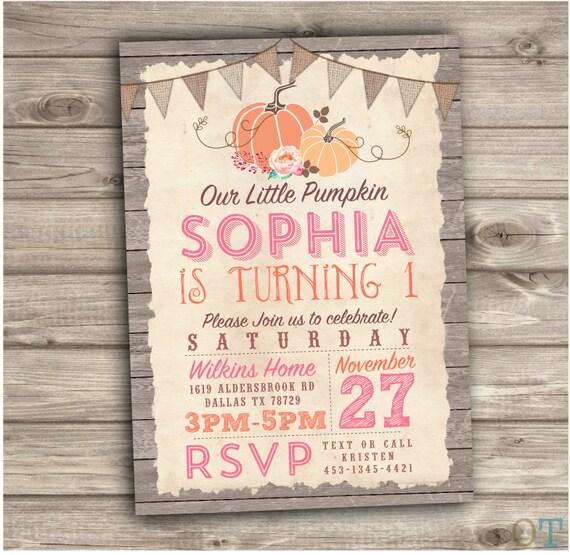 Pumpkin Birthday Printable Invitations Fall Theme Rustic Wood