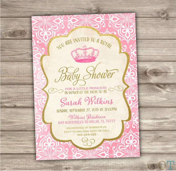 princess baby shower invitations royal baby pink baby shower printable