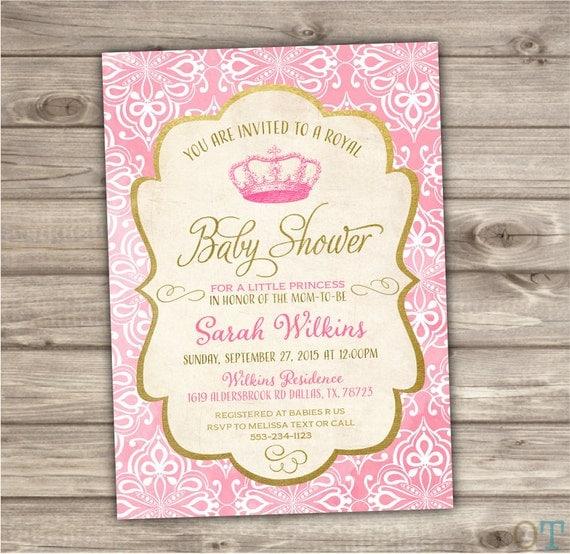 princess baby shower invitations royal baby pink baby shower printable