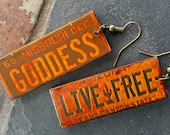 "LICENSE PLATE EARRINGS - ""Goddess"" ""Live Free"" - Make a Statement - Lightweight earrings - Great Gift! (L-34)"
