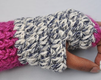 Crochet chunky fingerless Denim gloves, Super Chunky, Soft, Durable. Ready to ship!