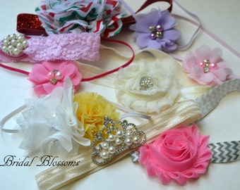 Headband GRAB BAG | Shabby Chiffon Frayed Flower HeadbandS | Bow Newborn Headband | Photo Prop | Little Girl Hair Bow | Toddler Girl Adult