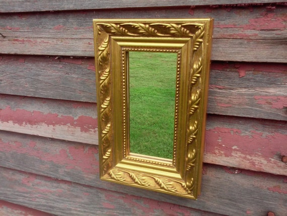 Small vintage mirror wall mirror hollywood by theuglyottoman for Small gold framed mirrors