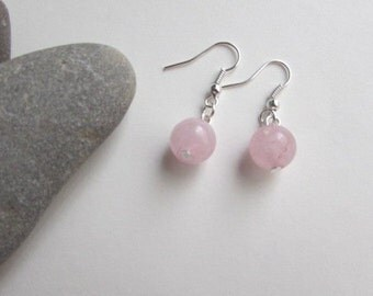 Rose Quartz Earrings, Gemstone Earrings, Dangle Earrings, Natural Earrings, Pink Beaded Earrings, Sterling Silver Earrings, 925 Silver