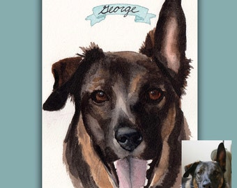 "Custom Watercolor Pet Portrait - 5""x7"""