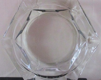 Vintage Clear Glass Ashtray, ca. 1980s
