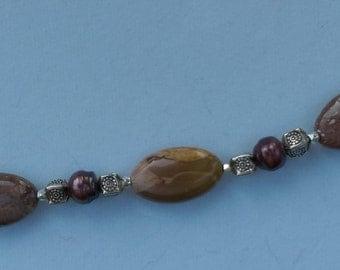 Jasper Freshwater Pearl Bracelet OOAK