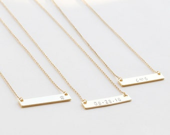 Gold Bar Necklace, Personalized Name Bar Necklace, Bridesmaid gift, christmas, best friend, valentines day gift, friendship necklace jewelry