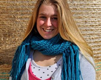 Blue Crochet Scarf