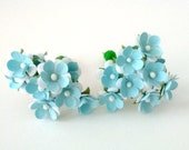 Baby blue paper flowers tiny flowers small flowers scrapbooking scrapbook flowers hair accessories card making