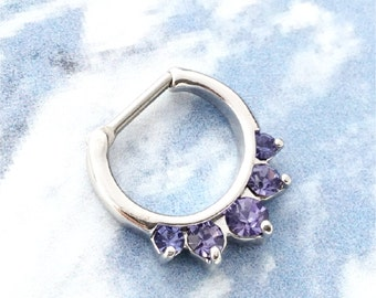 Septum Clicker Nose Jewelry, New Purple Amethyst Inset Stones, Rhodium ring, stainless steel 16g bar, nose ear jewelry SPECIAL sale