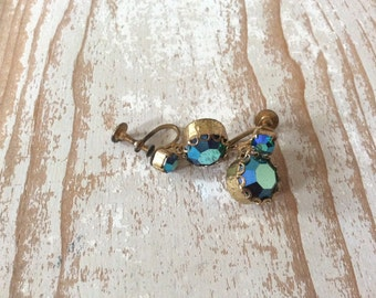 Beautiful Vintage Glamour Blue Green Aurora Borealis Crystal Rhinestone Drop Earrings
