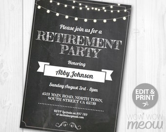 Retirement Invite Retiring Party Invitation INSTANT DOWNLOAD Editable Printable File Chalk Lights Vintage Rustic Mens Womens Announcement