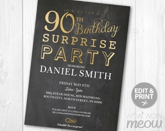 SURPRISE 90th Birthday Invitations Elegant Gold Party Invite Chalk NINETY Mens Womens Instant 90 Download Editable Printable Personalize