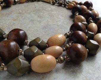 Vintage Wooden Bead Earth Tones Autumn Colours Multistrand Necklace