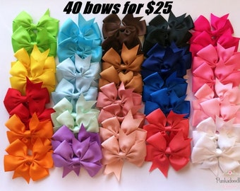 "Hair bows -40  3"" bows with alligator clip-baby hair bows-40 bow bundle"