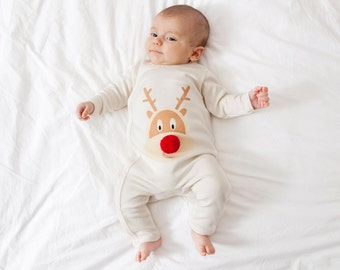 Christmas Baby romper - reindeer design with pom pom organic cotton