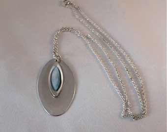 Oval Silver and Sky Blue Pendant with Chain