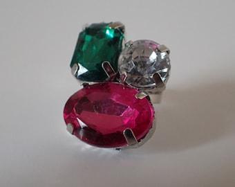 Multi Colour Multi Stone Statement Ring- Adjustable Ring Shank