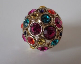Gold Multi Coloured Multi Stone Ring – Size N 1/2, 7, 54