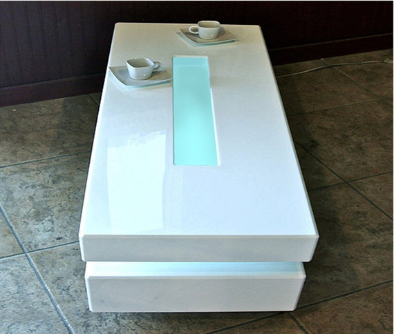 Designer's Acrylic Coffee Table White Lighted Modern