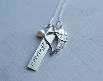 Sterling Silver Memorial Necklace, Remembrance Jewelry, Personalized hand stamped angel wing heart charm pendant jewelry, Custom Jewelry