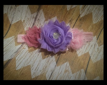 Baby Girl Pink and Lilac Headband - Newborn to 9 Months