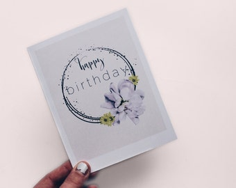 Floral Birthday Card INSTANT DOWNLOAD