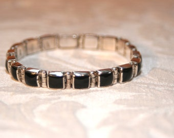 Mexican Sterling Silver and Onynx Bracelet