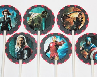 12 The Avengers Toppers, 12 count Cake Toppers, Superheroes Captain America, Hulk, Iron Man, and Thor