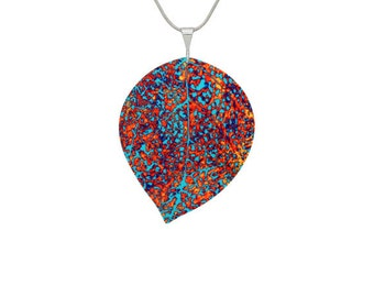 Abstract Orange Leaf Pendant/Jewelry/Jewellery
