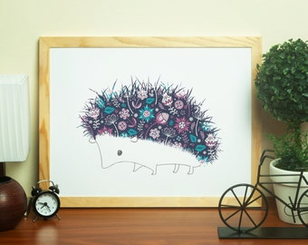 Bramble the Hedgehog Print - Wildlife Creature Illustration
