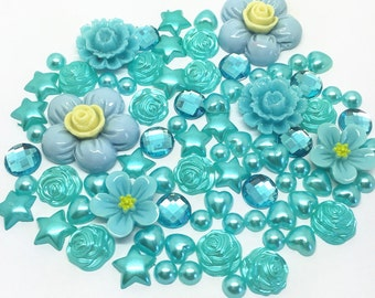 Blue/Turquise 80 x Mixed Flatbacks Hearts Resin Pearls Bow Stars Embellishments Card making