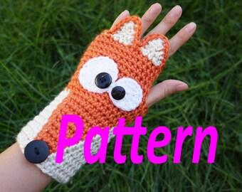 PATTERN ONLY Crochet Fox fingerless gloves, cute animal armwarmers, animal wristwarmers, kawaii cute gloves pattern size adult women/teens