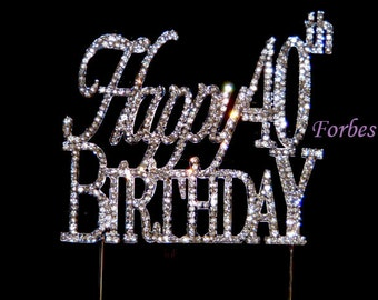 Large Sparkling Silver Rhinestone 40th Happy Birthday Cake Topper by Forbes Favors