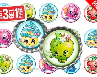 Shopkins Bottle Cap Images - 1 inch size - Suitable for Hair Bows, Magnets, Scrapbooking, Stickers etc - High Resolution Images