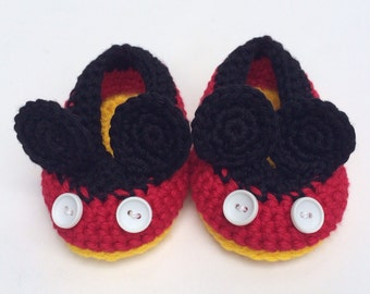 Mickey Mouse Style Crochet Baby Shoes 0-12 months