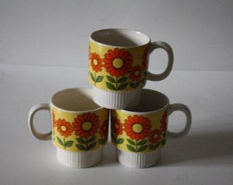 Three Flower design Mugs, 1960s Mod Mugs, Groovy Vintage Mugs