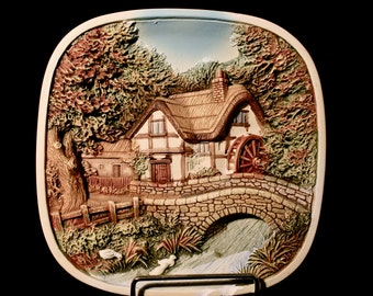 Vintage 3D Square Plaster cast Wall Plate By legend Product Watermill