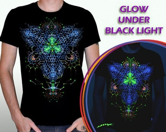 Nanostructure - rave tee psychedelic shirt psy clothing Glow in the Dark UV black light fractals party psy trance mandala meditation lsd goa